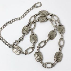 Silver Rectangle Etched Links Chain Belt